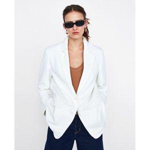 Zara White Oversized Cotton Blazer